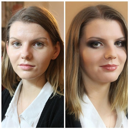Bold, smokey eyes, dark lips, heavy face features for stage