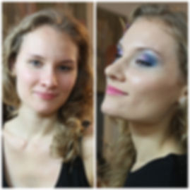 Before and After transformation , blue, purple smokey eyes, pink lips