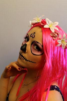 Pink wig with flowers, sugar skull Halloween Makeup