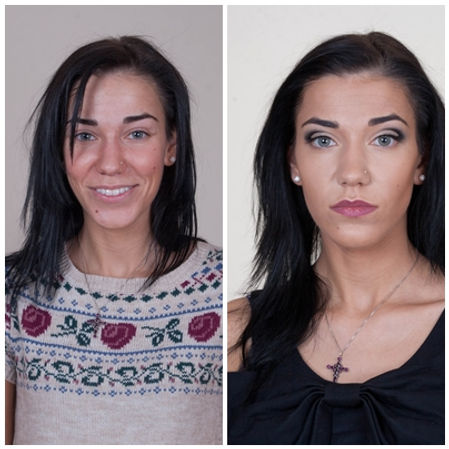Before and After Black Cut crease Makeup, dark lips