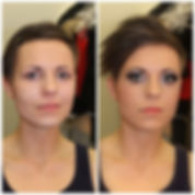 No makeup and Stage Makeup Look, before and after