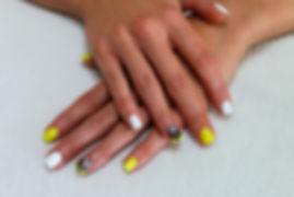 Yellow and White Tribal Nailart