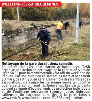 Article Nettoyage Gare de Woelfling 22 M