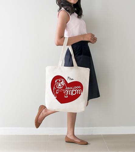 Pasha Bulldogs Mom Tote Bag (heart)