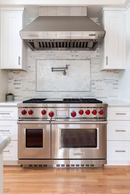 """Kitchen white shaker 48"""" range hood white quartz marble countertop tile backsplash pot filler"""