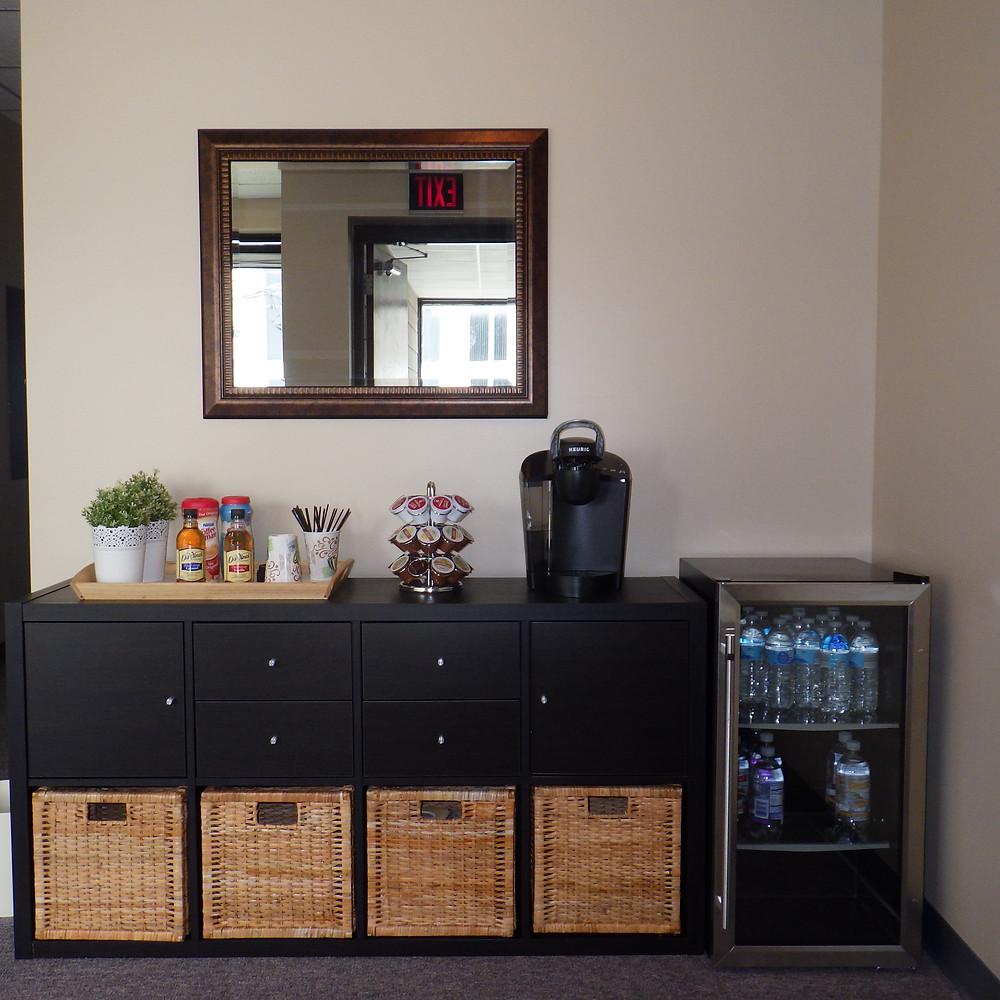 Reception coffee/tea/water bar
