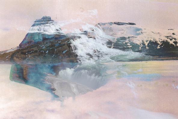 Gullfoss and Esja mountain range