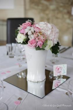 centre de table hiver rose