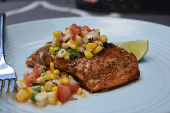 The Easiest Salmon and Roasted Corn Relish Recipe