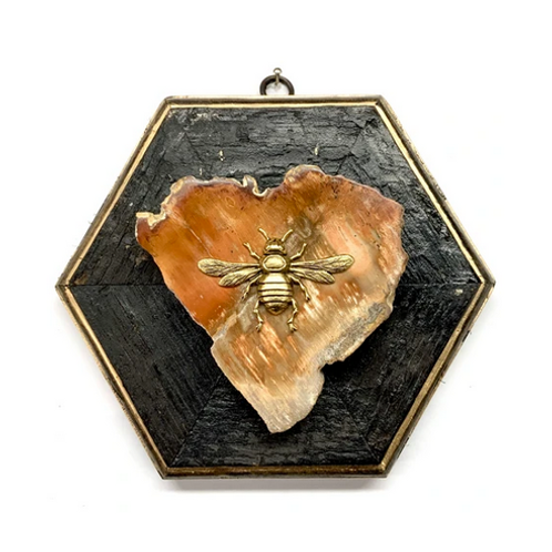 #10673 Bourbon Barrel Frame w/Italian Bee on Petrified Wood Piece