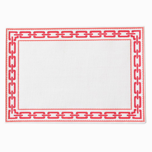 #8109 Chain Red/Coral Jute Placemat, Set of 4