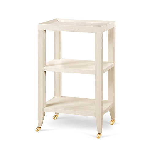 #10352 Side Table, Natural Grasscloth