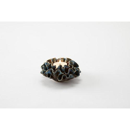 #11057 Ripple Coral Tealight Holder (Blue)