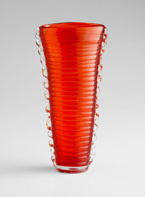 2882 Large Orange Ribbed Vase