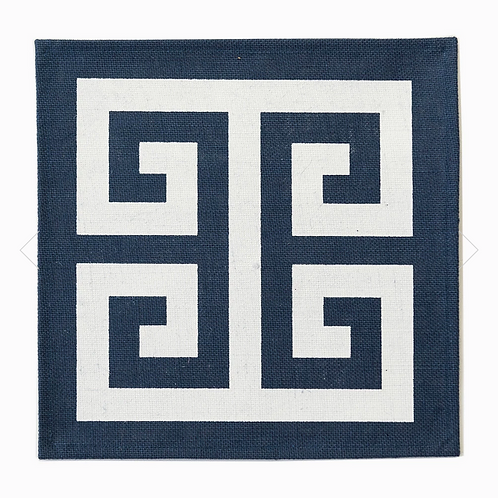 #8106 Greek Key Navy Jute Placemat, Set of 4