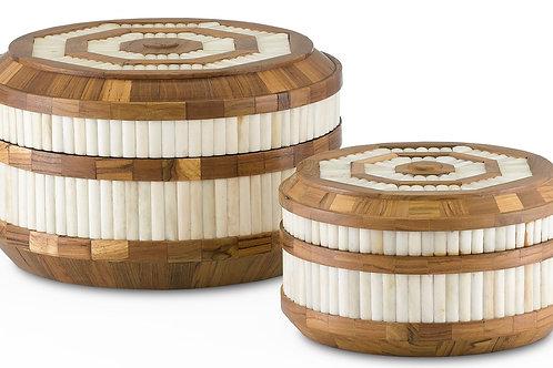 #12115 LG Wood & Bone Round Box