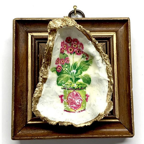 #12307 Wooden Frame with Flowering Plant Decoupage Oyster Shell