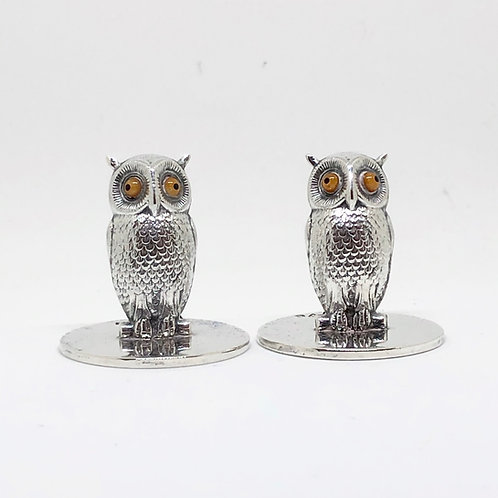 #24 Silver Owl Menu/Place Card Holders