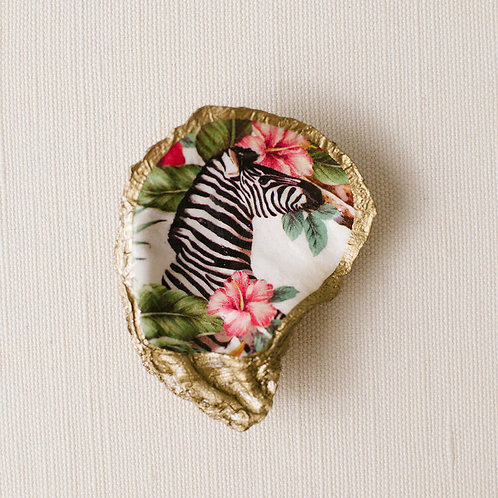 #10721 Tropical Decoupage Oyster Dish