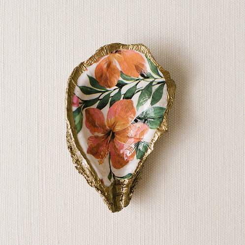 #10723 Tropical Decoupage Oyster Dish