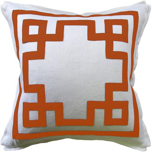 #9664 Fretwork Pillow-Papaya