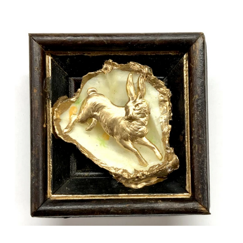 #10671 Wooden Frame w/Hare on Oyster Shell