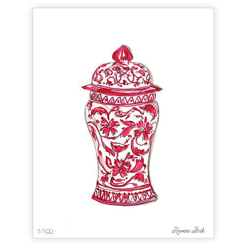 #10194 Red Chinoiserie Jar Print