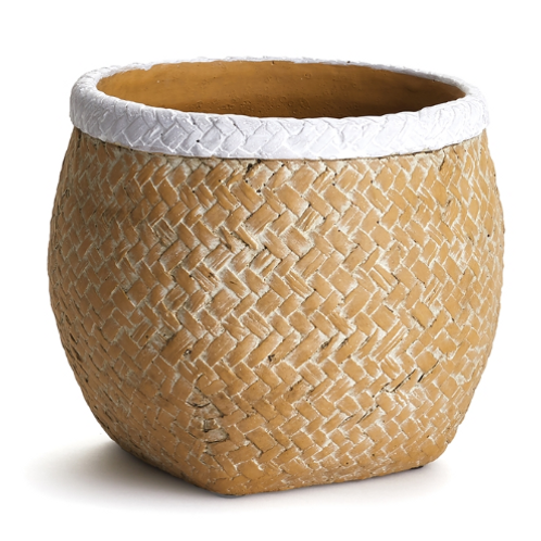 #10479 Basketweave Drum Pot (small)