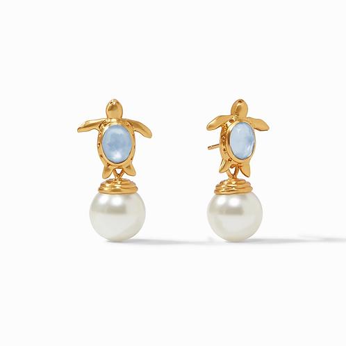#9220 Turtle Pearl Drop Earring