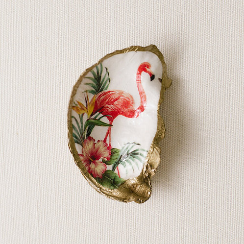 #10720 Tropical Decoupage Oyster Shell