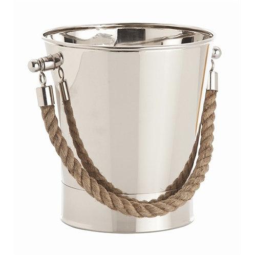 #1720 Polished Nickel Ice Bucket with Jute Handle