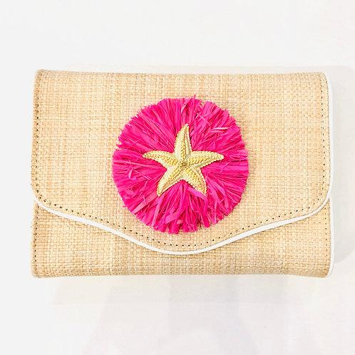 #10040 Starfish Pink Raffia Clutch