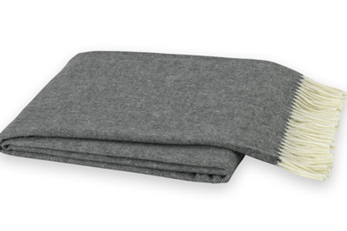 #3602 Charcoal Gray Herringbone Throw