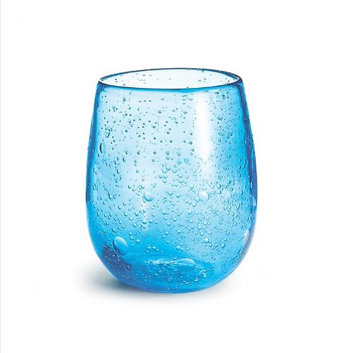 #9077 Blue Seeded Glass Vase