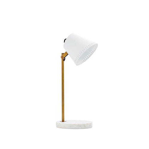 #10348 White & Brass Table Lamp