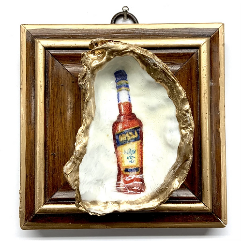 #11512 Wooden Frame w/ Bottle Oyster Shell