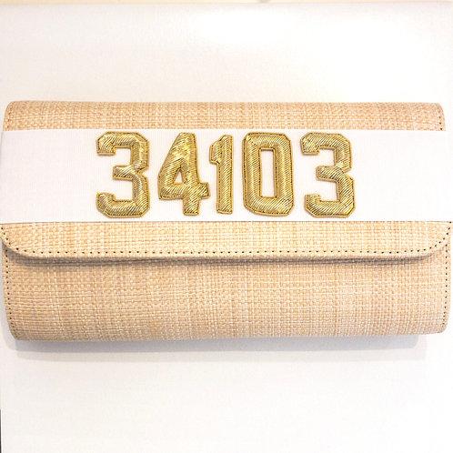 #19978 34103 Straw White Clutch