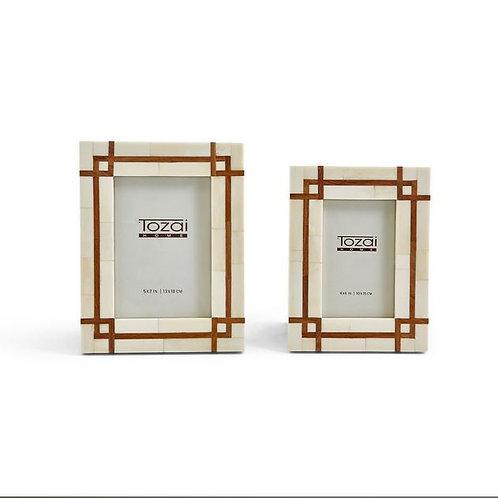 #11807 Wood & Bone Geometric Frame (5x7)