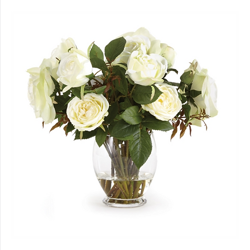 #10456 White Garden Rose Arrangement in Glass Vase
