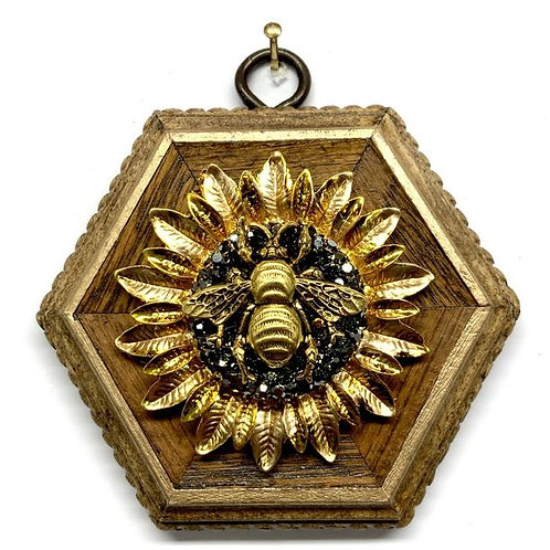 #12331 Wooden Frame with Grande Bee on Sunflower Brooch