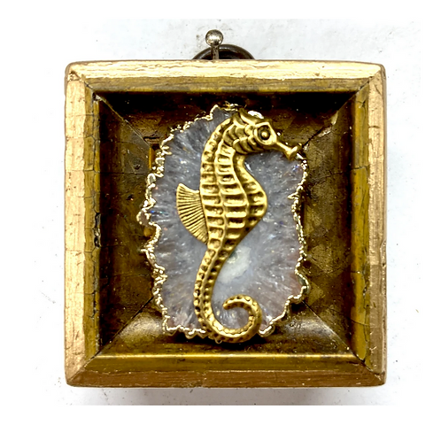 #9884 Gilt Frame with Seahorse on Quartz