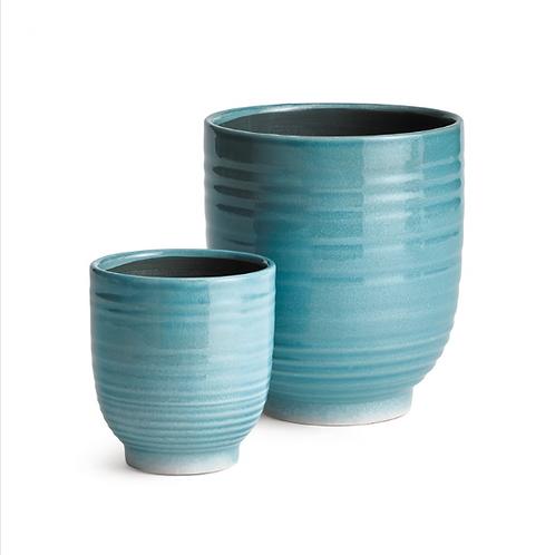 #11454 SM Blue Glazed Planter