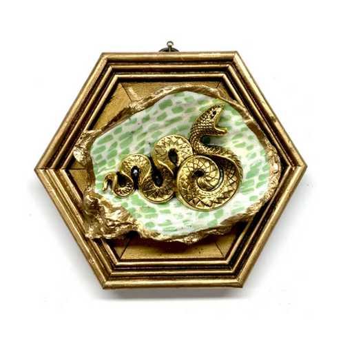 #10832 Gilt Frame with Snake on Oyster Shell