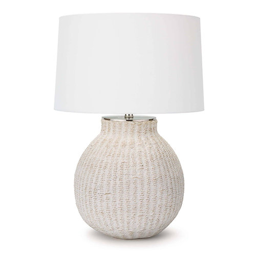 #10521 White Washed Woven Lamp