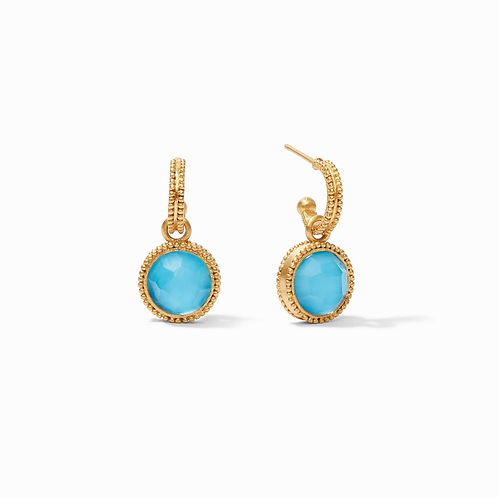 #10405 Fleur-de-Lis Hoop & Charm Earrings (Pacific Blue)
