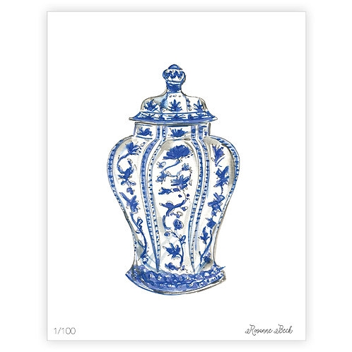 #10187 Blue Chinoiserie Jar Print