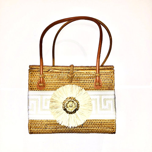 #10019 Greek Key Navy Raffia Blossom Bag