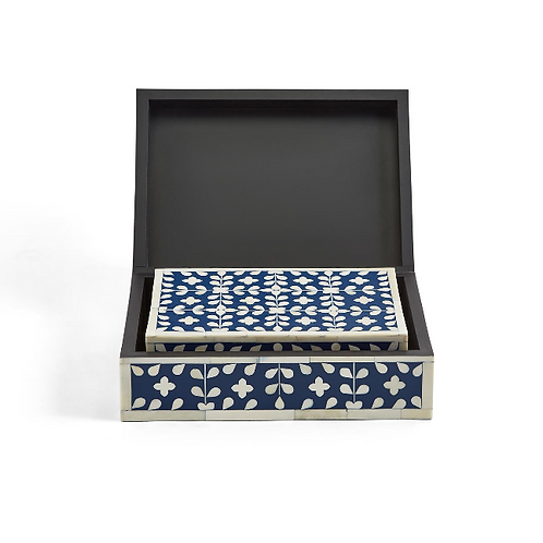 #10877 Large Navy Floral Bone Inlay Box