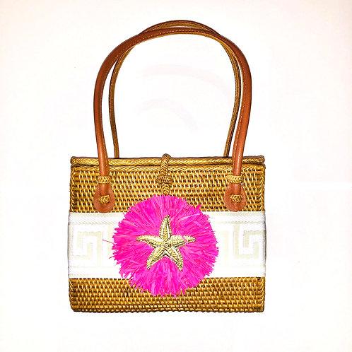 #10020 Greek Key Pink Raffia Starfish Bag
