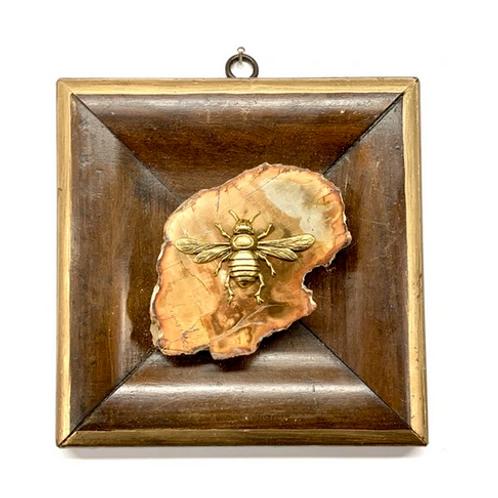 #10657 Wooden Frame w/Italian Bee on Petrified Wood Piece